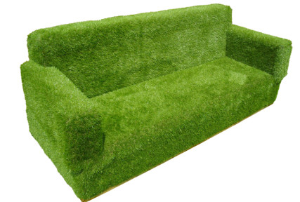 Sofa covered in artificial grass